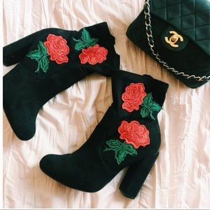 EMBROIDERED SUEDE ANKLE BOOTS ROSES SIZE 8